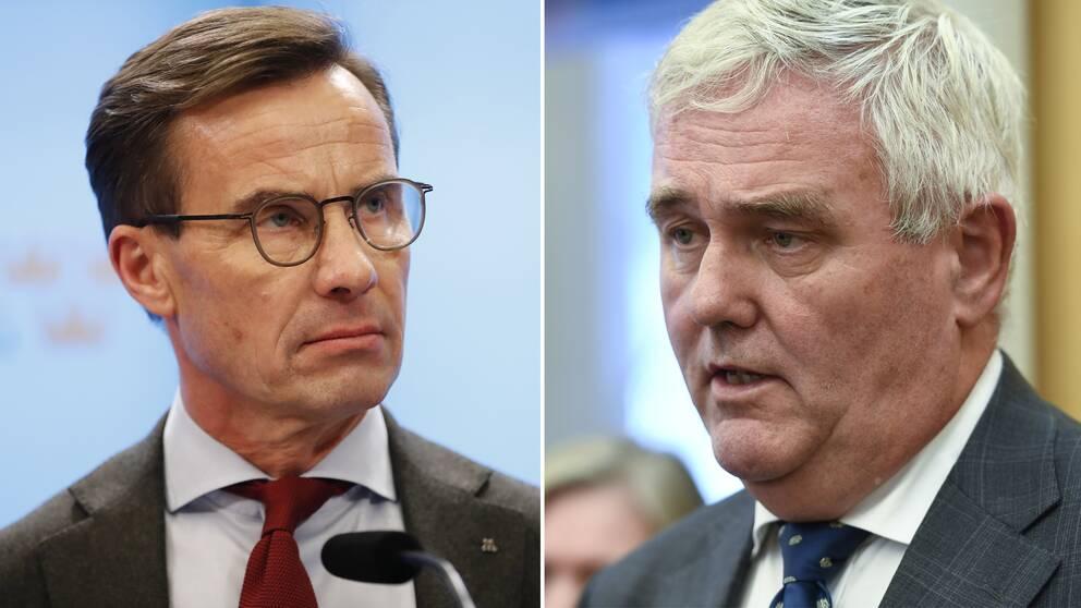 En bild på Moderaternas partiledare Ulf Kristersson och Centerpartiets vikarierande partiledare Anders W Jonsson
