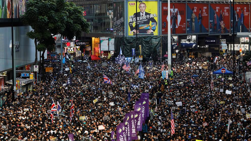 Protestmarch i Hongkong i december 2019.