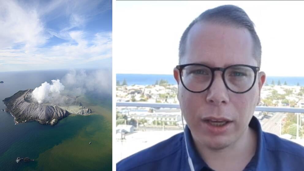Vulkanutbrott på ö, rök stiger mot himlen. SVT:s reporter Mikael Nilsson.