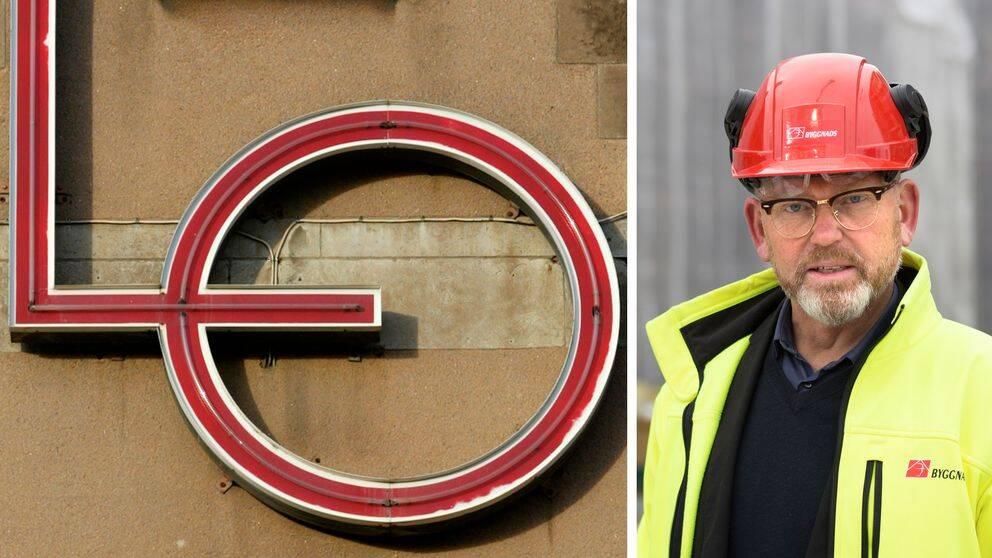 LO-loggan på husfasad och Byggnads förbundsordförande Johan Lindholm i röd hjälm.