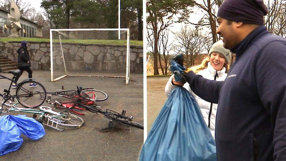 Trasiga cyklar i en hög. Flicka ger sopsäck till man i blå tröja.