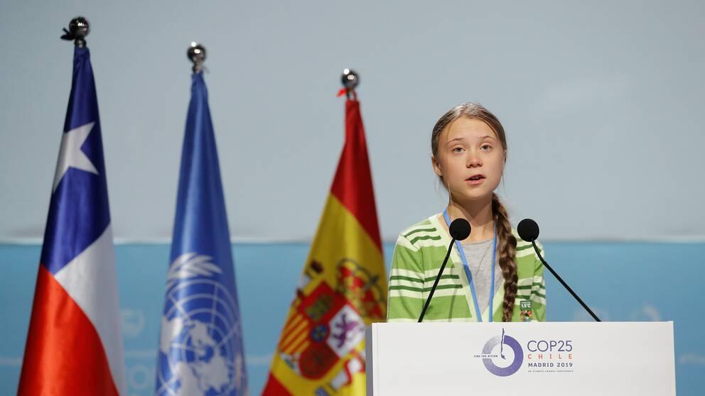 Greta Thunberg underströk under sitt tal att världens länder inte kan ignorera forskningen längre.