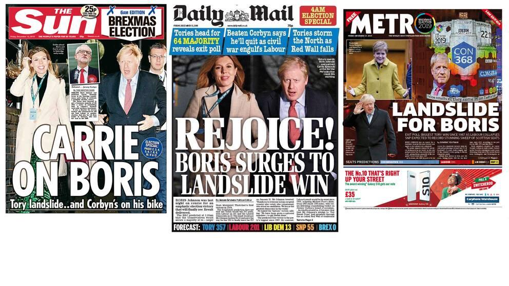 Några av de brittiska tidningarnas förstasidor efter det brittiska parlamentsvalet.