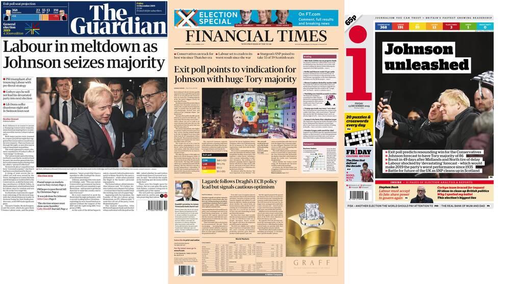 Fler av de brittiska tidningsrubrikerna efter parlamentsvalet i Storbritannien den 12 december.