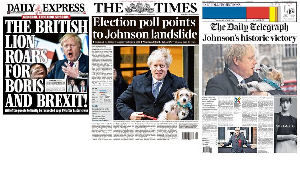 Förstasidor på brittiska Daily Express, The Times och The Daily Telegraph fredagen den 13 december.