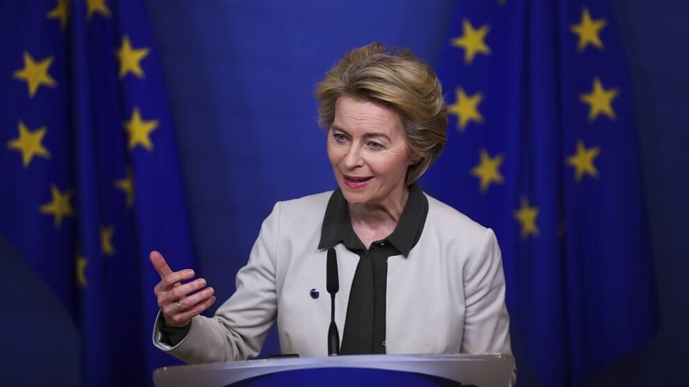 """EU-kommissionens nya ordförande Ursula von der Leyen lägger fram sin """"gröna giv"""" för klimatneutralitet i EU år 2050."""