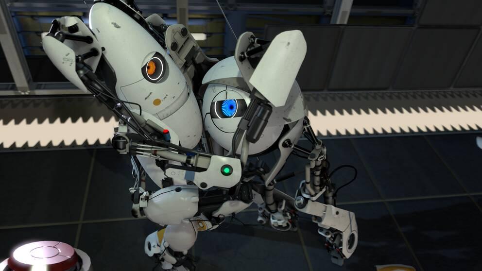 Försökskaninerna P-body och Atlas lär sig att frukta den sadistiska AI:n Glados i det perfekta pusselspelet Portal 2.