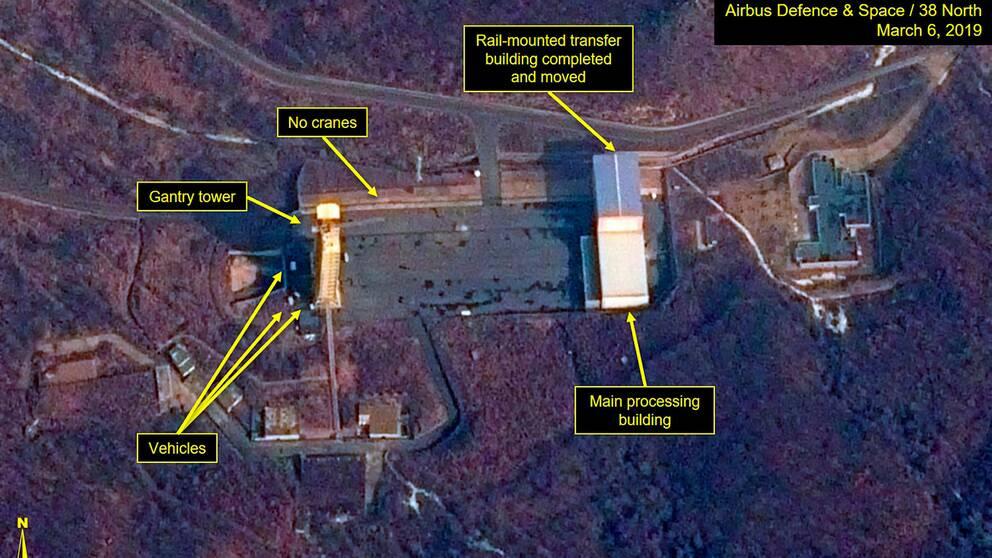 Satellitbild av Sohae avfyringsramp i Tongchang-ri i Nordkorea den 6 mars 2019.
