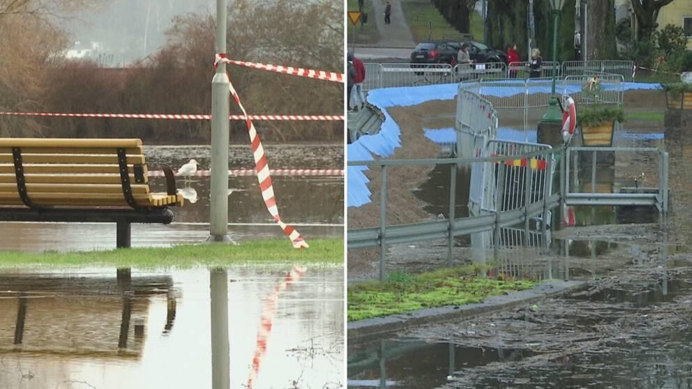 Två bilder. Bild ett: Bänk bredvid lyktstolpe i översvämmad park, med avspärrningsband. Bild två: barriär mot översvämmning.