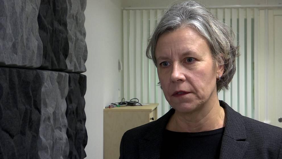 en kvinna med grått hår iklädd kavaj intervjuas av SVT:s reporter