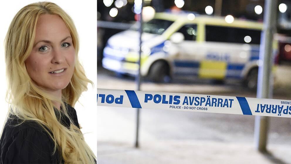 En delad bild med forskaren Malin Wieslander till vänster och en polisavspärrning till höger.