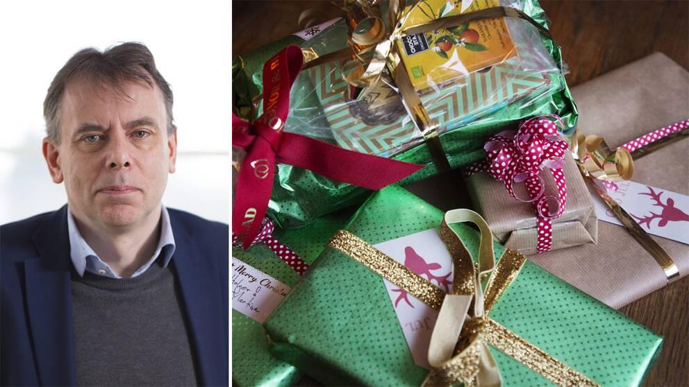 Professor Stefan Tengblad och julklappar.