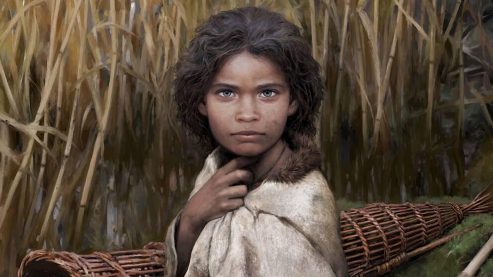 En illustration av hur forskarna tror att kvinnan som tuggade tuggummit såg ut. Med mörkt hår och hy samt blåa ögon tittar hon rakt på en.