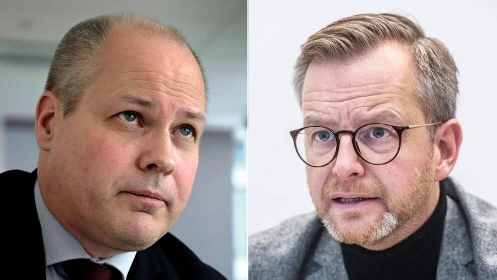 Justitie- och migrationsminister Morgan Johansson (S) och inrikesminister Mikael Damberg (S).