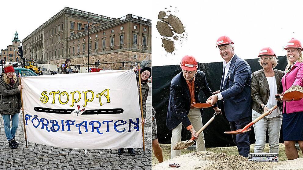 I augusti togs första spadtaget för Förbifart Stockholm – men motorvägsbygget har mött många protester genom åren.