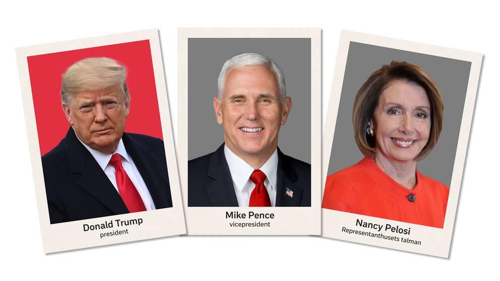 Donald, Trump, Mike Pence och Nancy Pelosi