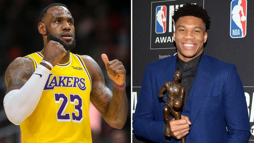Från vänster: NBA-stjärnorna LeBron James och Giannis Antetokounmpo.