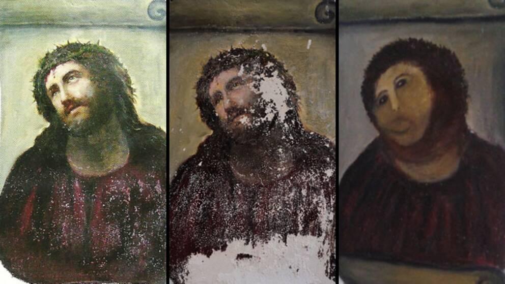 """Såhär såg Elías García Martínez väggmålning """"Ecce Homo"""" ut år 2010, i juli 2012 och efter lokalbons """"restaurering""""."""