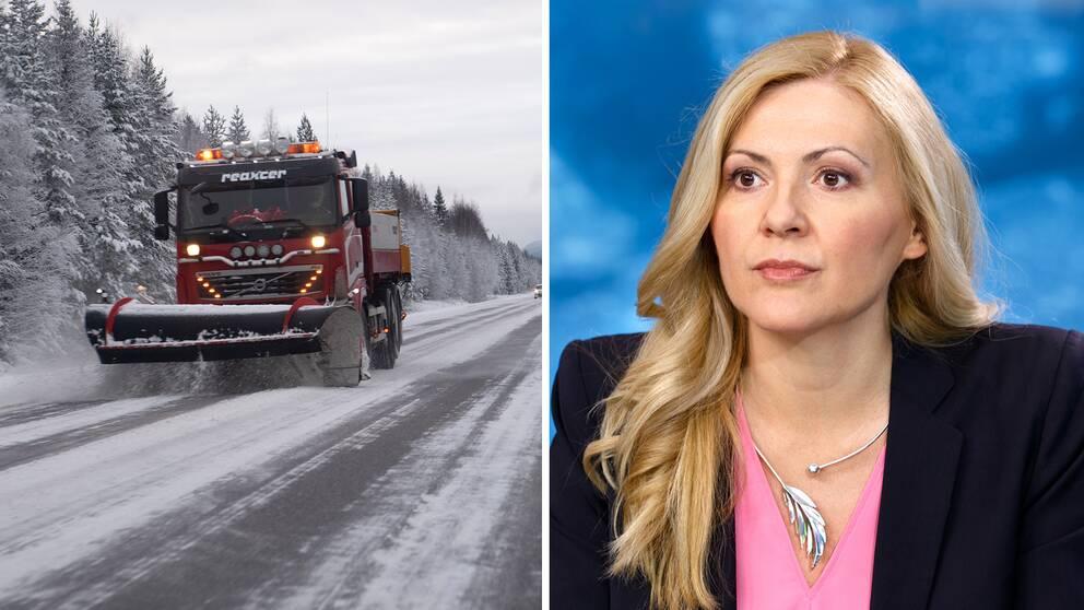 Plogbil röjer snö utanför Östersund samt bild på SVT:s meteorolog Deana Bajic.