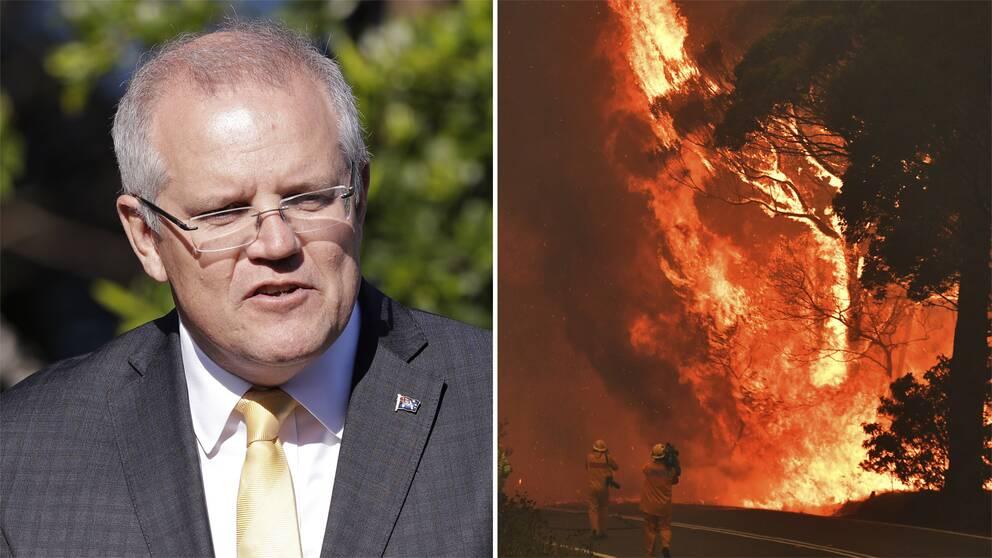 Australiens premiärminister Scott Morrison och en bild från en brand i den australiska delstaten New South Wales