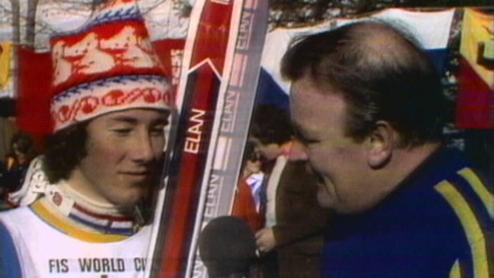 SVT Sport på 70-talet. Ingmar Stenmark intervjuas.