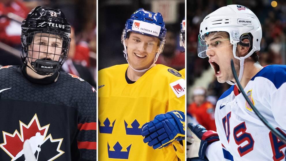 Från vänster: Kanadas Alexis Lafreniere, Sveriges Rasmus Sandin och USA:s Oliver Wahlstrom.