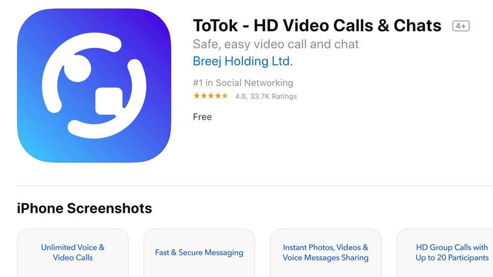Skärmdump på appen ToTok i AppStore.