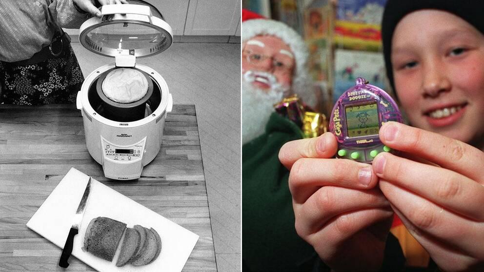 Bakmaskinen blev årets julklapp 1988, det elektroniska husdjuret (eller tamaguchi) blev utnämnt 1997.