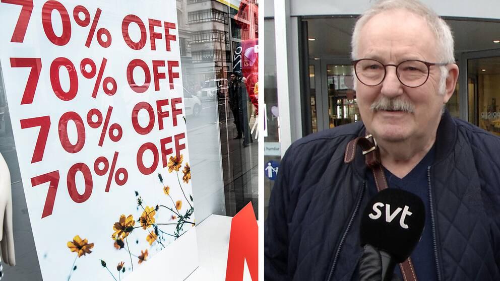 En skylt med rea priser och en man som SVT pratat med om lågprisvarukedjor.