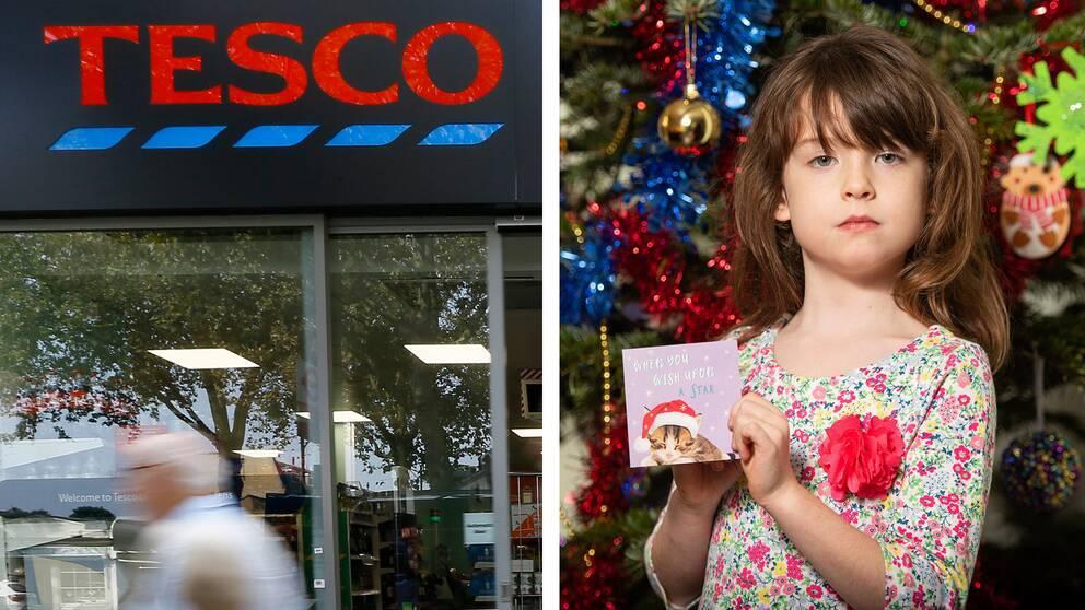 Till vänster en arkivbild på en av Tescos butiker. Till höger Florence Widdicombe, 6 år, som hittade julkortet.