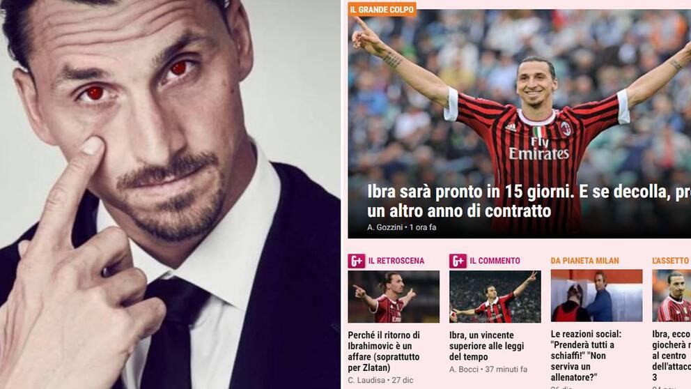 Zlatan hintade på Instagram och välkomnas av italienska tidningen Gazzetta dello Sport.