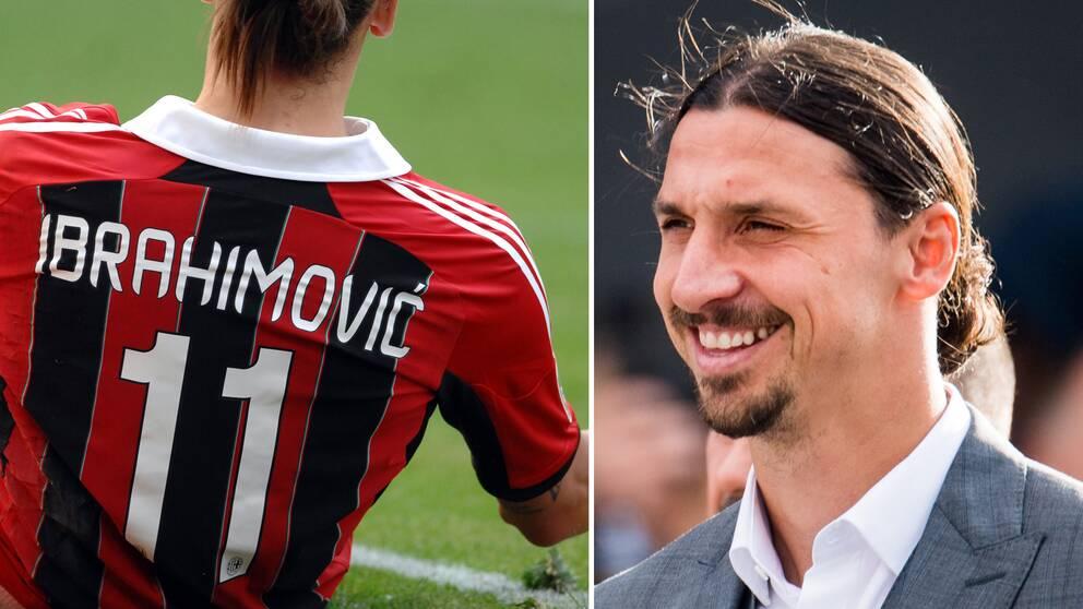 """Zlatan i Milan 2012 till vänster. Till höger """"Ibra under avtäckningen av Zlatan-statyn i Malmö."""