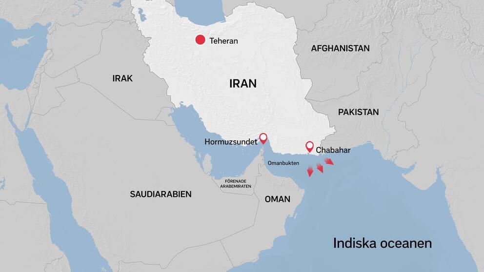 Marinövningen utgår ifrån hamnen Chahbahar nära Pakistans gräns, enligt iranska uppgifter.
