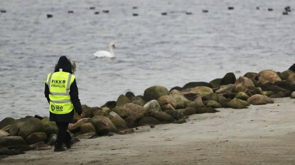 Frivillig från FIKK i gul väst vandrar längs strand