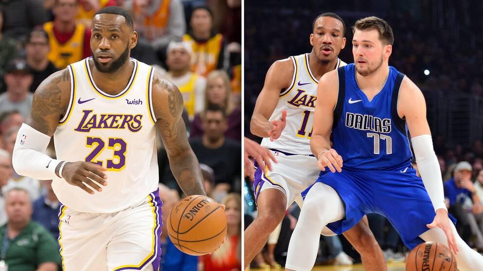 Två av NBA:s största stjärnor: LeBron James (vänster) och Luka Doncic (höger).
