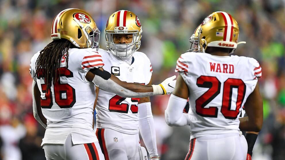 San Franciscos Richard Sherman, Marcell Harris och Jimmie Ward i nattens match mot Seattle.