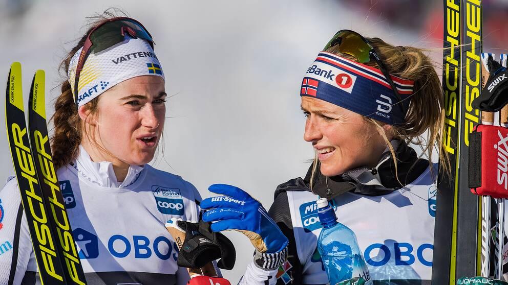 Ebba Andersson och Therese Johaug i mars.
