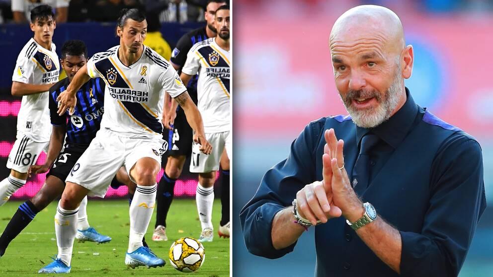 Zlatan in action i LA Galaxy och till höger svenskens nye tränare i Milan, Stefano Pioli.