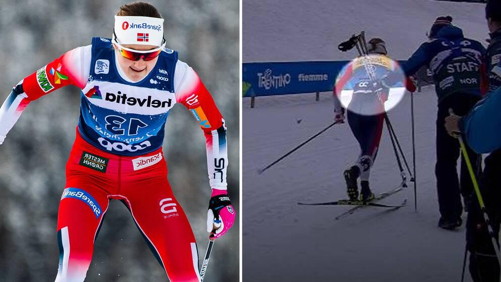 Ingvild Flugstad Östberg bröt staven under damernas masstart.