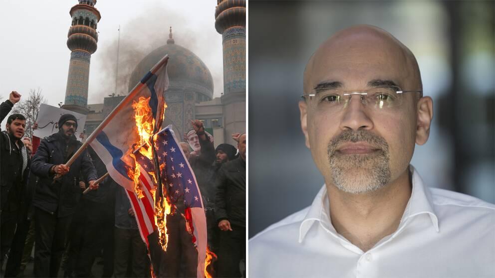 Iranier som bränner flaggor och Rouzbeh Parsi.