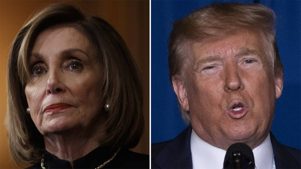 USA:s talman Nancy Pelosi, demokrat, och president Donald Trump, republikan.
