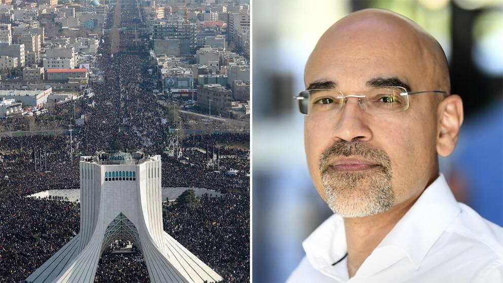 Hundratusentals människor som kantade gatorna i Teheran för att sörja Qassem Soleimani under måndagen. Rouzbeh Parsi, programchef på Utrikespolitiska Institutet, säger att det återstår att se hur långt Iran kommer att gå för hämnd.