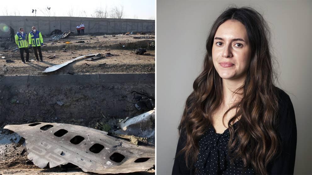 Bild på vrakdelar från flygkraschen samt bild på UD:s presskommunikatör Diana Qudhaib.