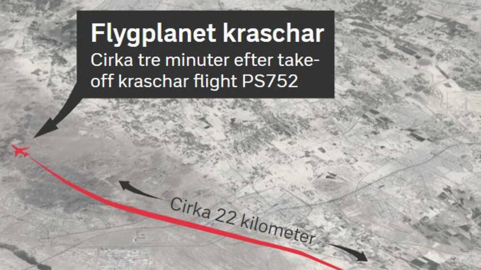 En bild med grafik som visar flygets resa