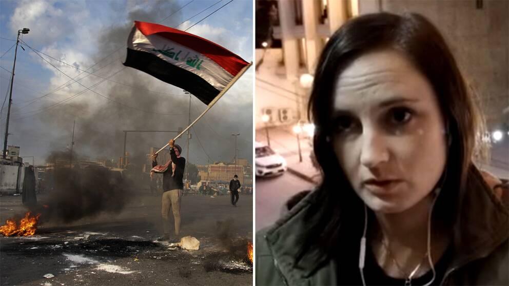 En bild från en demonstration i Irak och en bild på SVT:s reporter Lina Malers, som är på plats Bagdad.