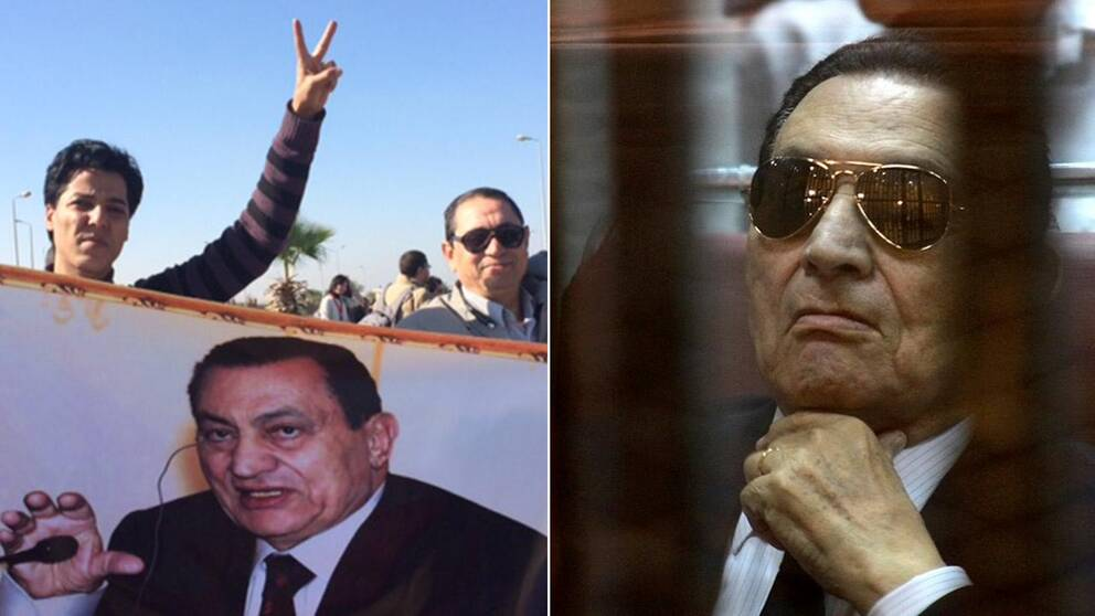 Mubarak-anhängare jublar utanför rätten efter dagens besked.
