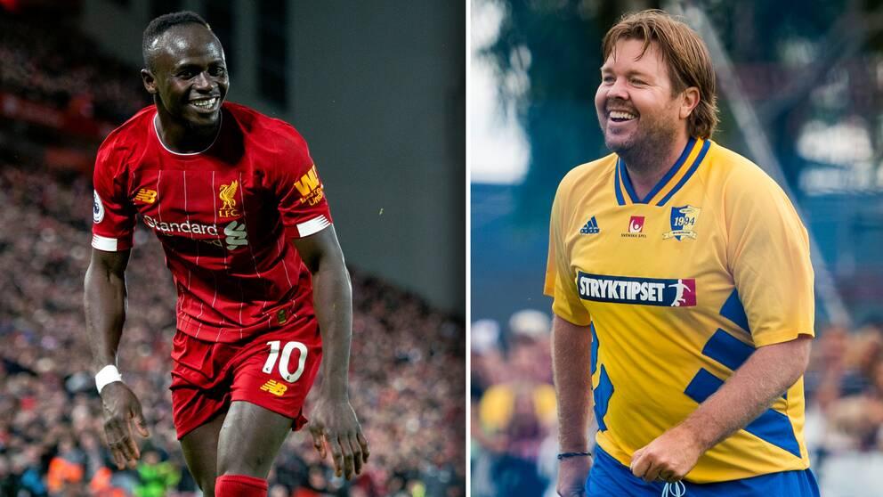 Liverpool-stjärnan Sadio Mané och svenske ikonen Tomas Brolin.
