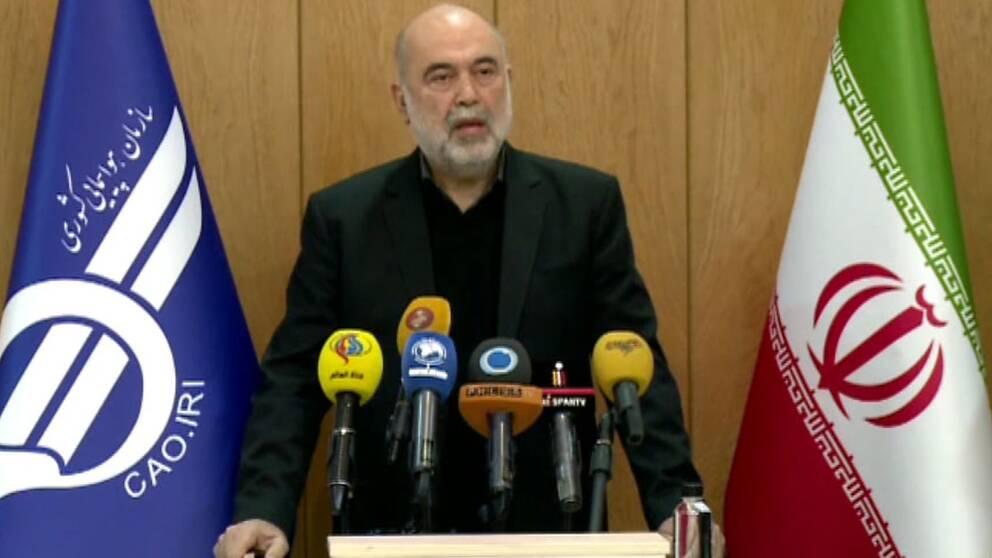 Ali Abedzadeh, Irans chef för trafikflyg, under en presskonferens i Iransk statlig tv.