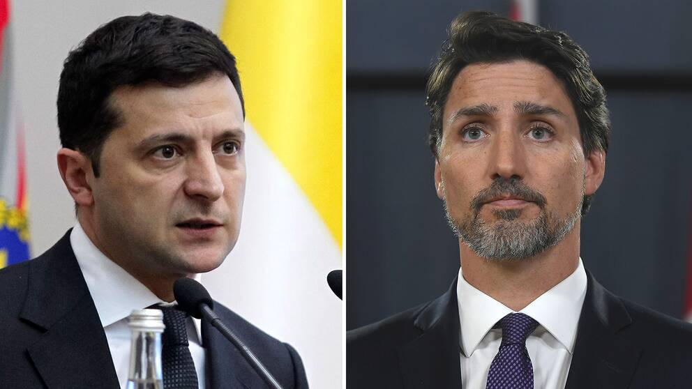Ukrainas president Volodymyr Zelenskyj och Kanadas premiärminister Justin Trudeau