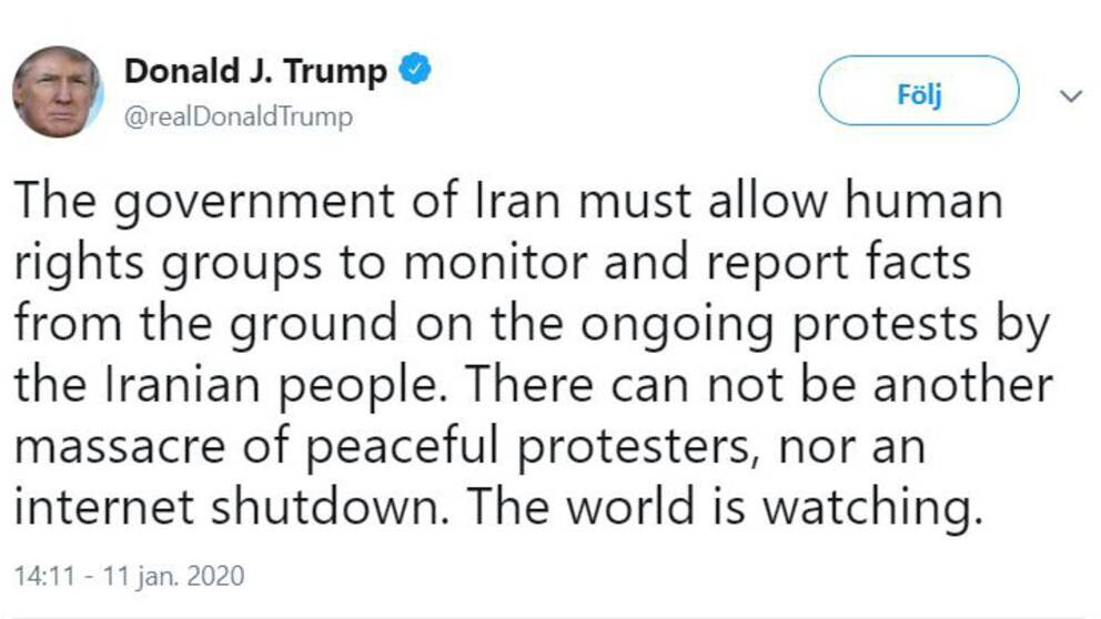 Skärmdump från Trumps tweet.